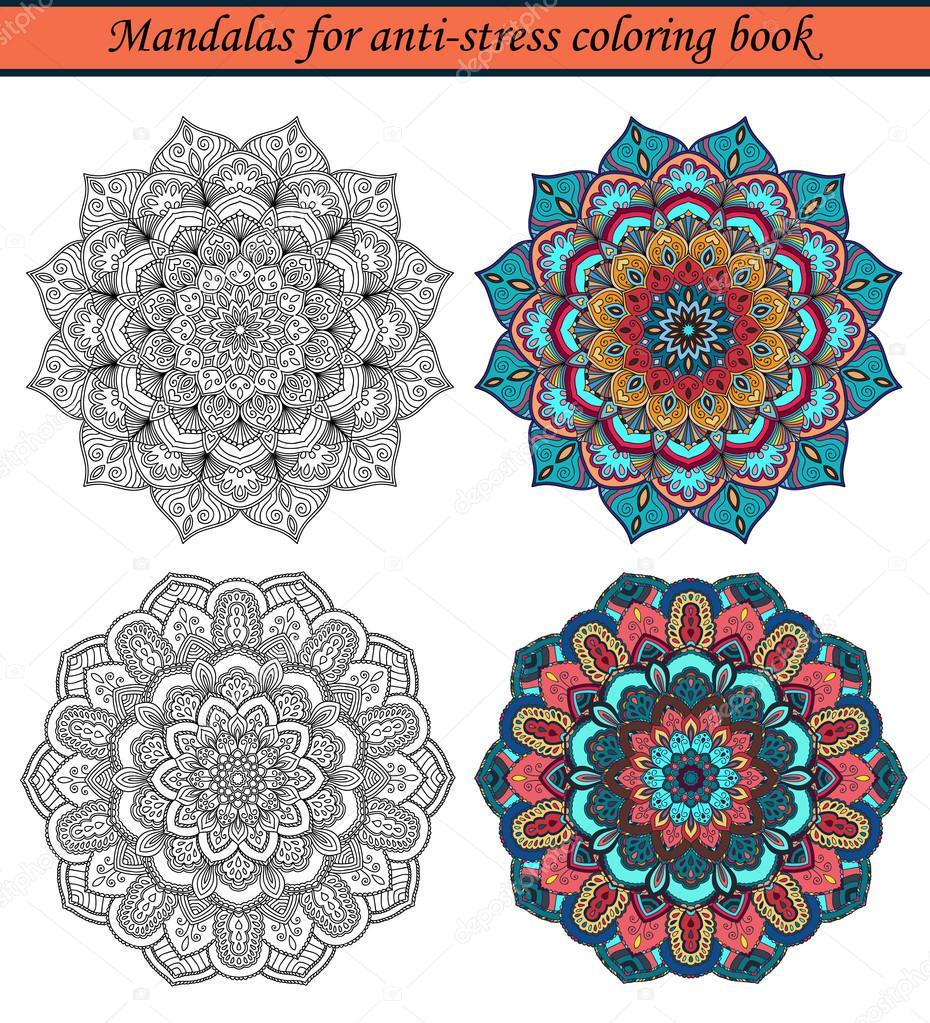 mandalas pour livre de coloriage anti stress des chantillons colors et contour noir autour des ornements pour dessin de dtente