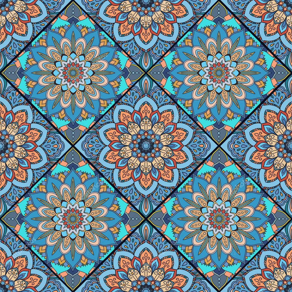 Boho tile flower squares colorful blue — Stock Vector © amovitania ...