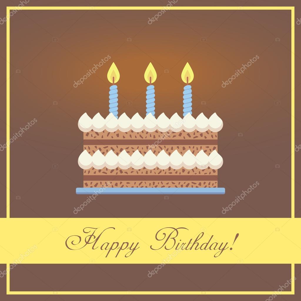 Flat Design Happy Birthday Greeting Card With Chocolate Cake