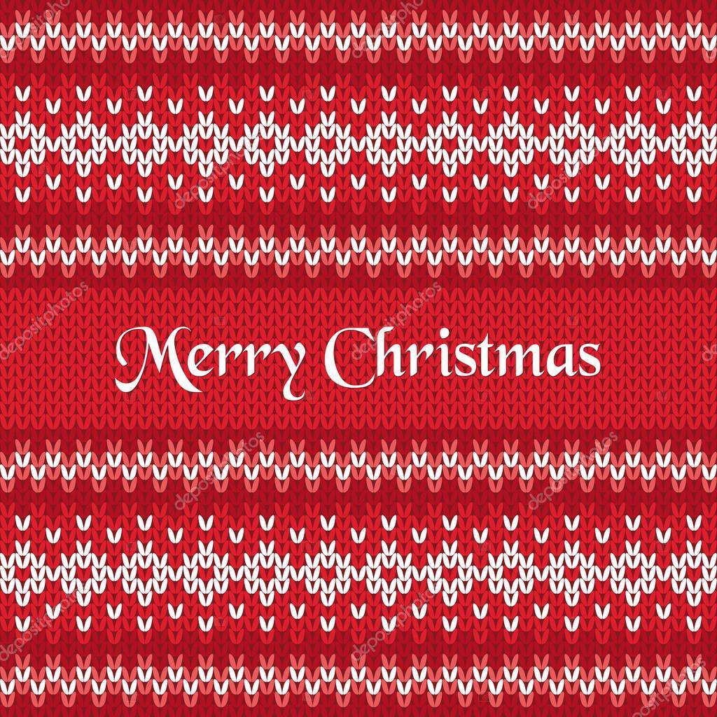 Merry Christmas Greeting Card On Winter Geometric Ornament Pattern