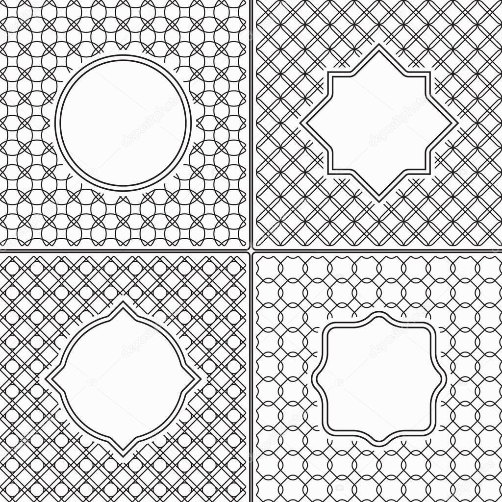 Conjunto de Marcos Vintage de línea fina en blanco y negro abstracto ...