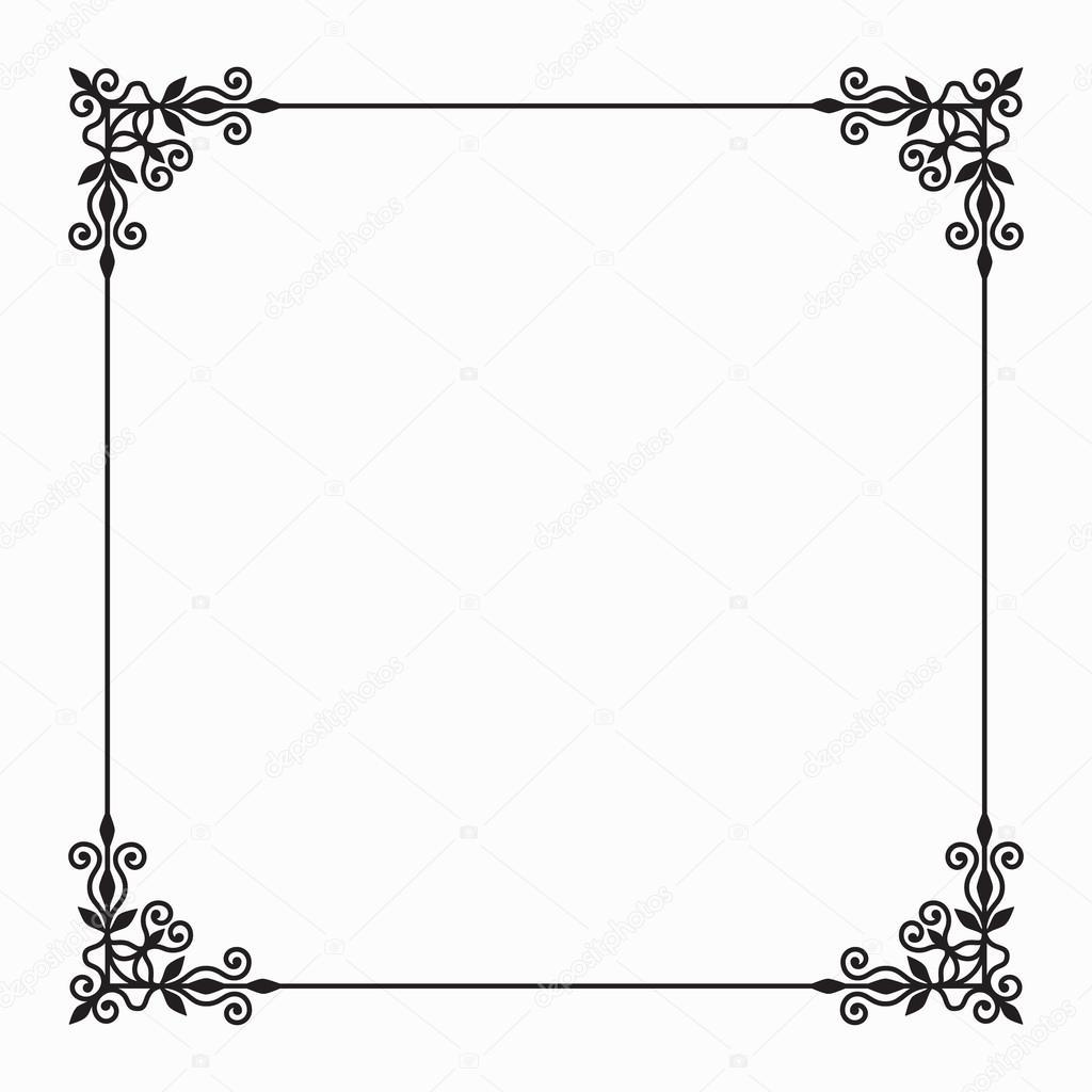 Vector zwart Twirl Frame op witte achtergrond — Stockvector ...