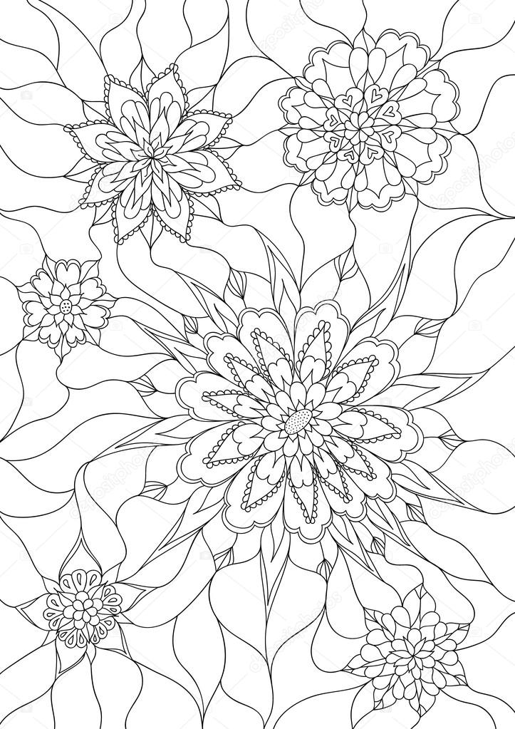çiçek Boyama Sayfası Stok Vektör Amovitania 89513052