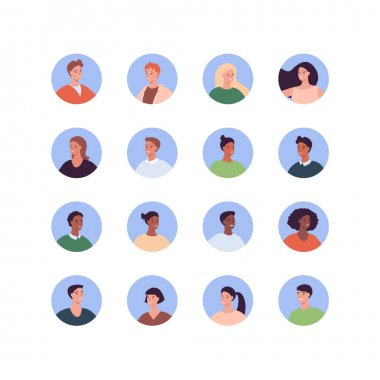 Diverse people avatar set. Vector flat people illustration. Pack of adult man and woman character of diversity ethnic in round frame isolated on white background. Design element for web profile icon. icon