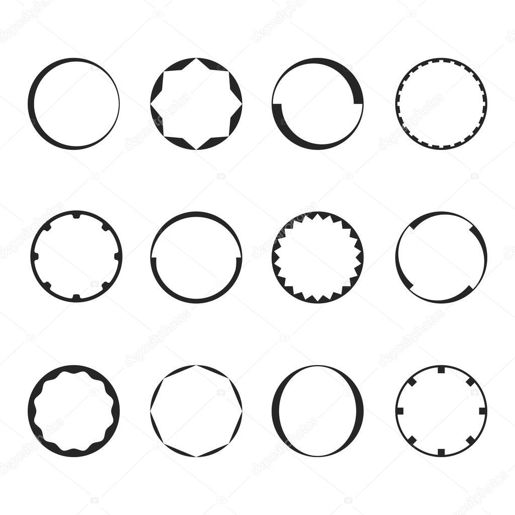 Runde Bilderrahmen set mit verschiedenen design — Stockvektor ...