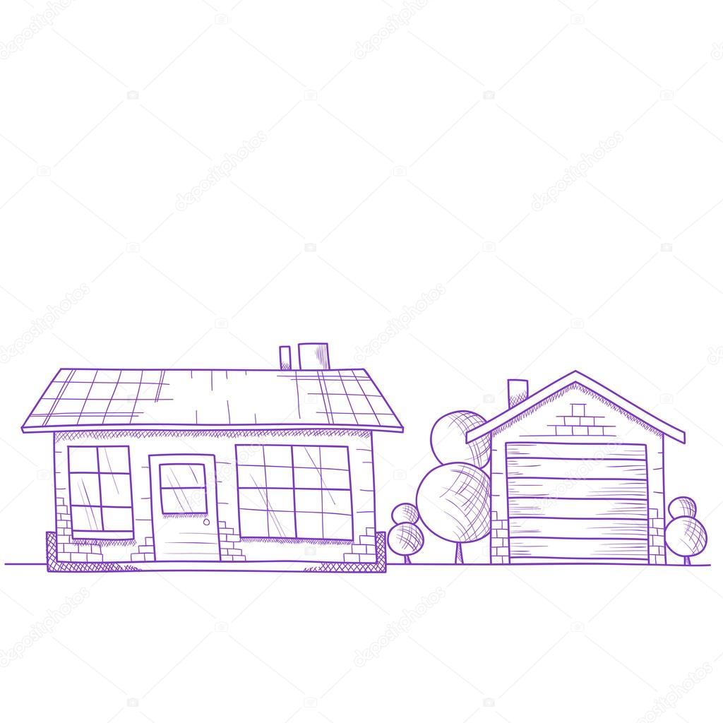 Hand Gezeichnet Haus Mit Baumen Auf Boden Stockvektor C Toxitz