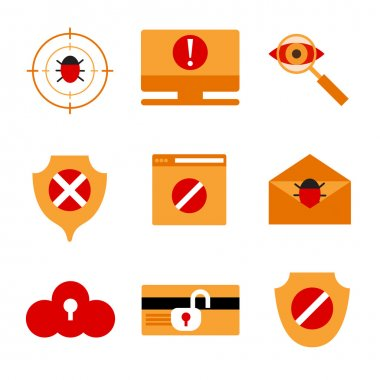 Set of icons displaying IT security.