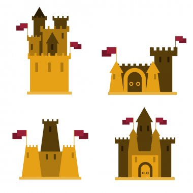 Sand castles, set of 4 pieces, with flags on them.