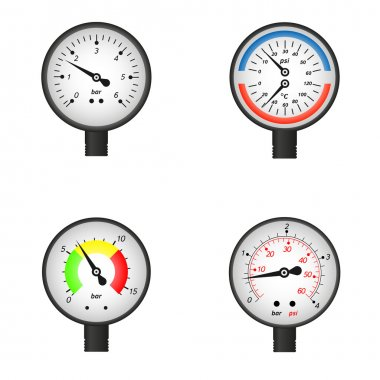Vector illustration set of manometers.