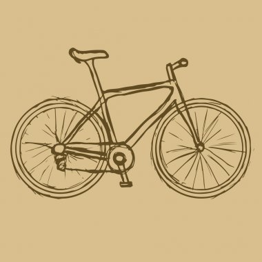 Hand drawn bicycle on the brown background. Vector image.
