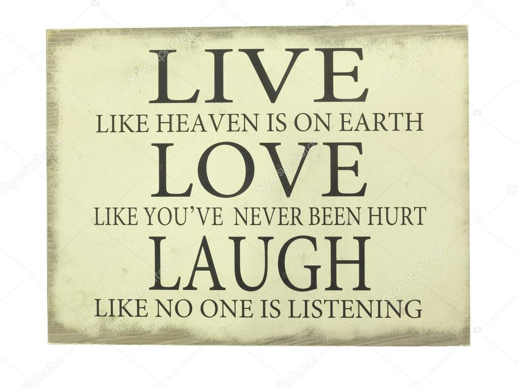 Plate With Inscription Live Love Laugh Stock Photo