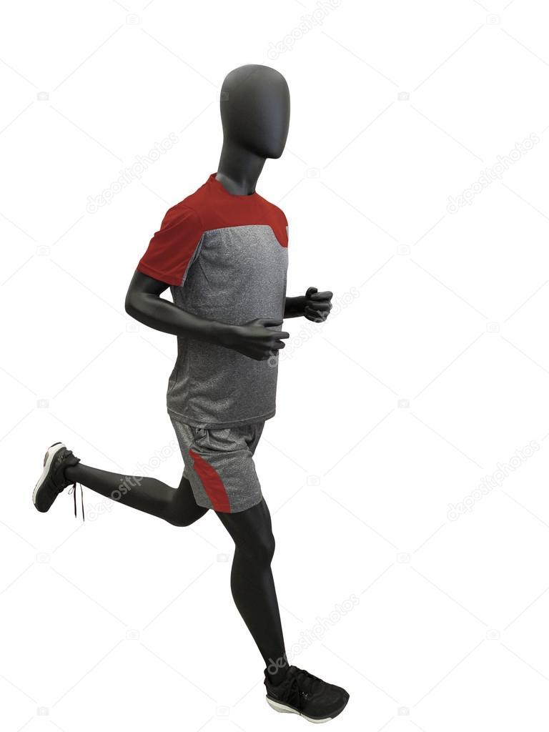 f91757f4ff Maniquí masculino marcha ataviados con ropa deportiva. Aislado sobre fondo  blanco. Sin marcas u objetos de derechos de autor — Foto de modustollens