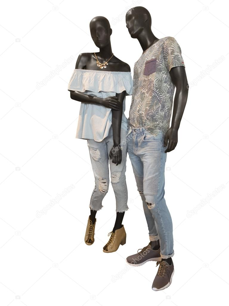 due manichini vestiti in abbigliamento casual foto stock