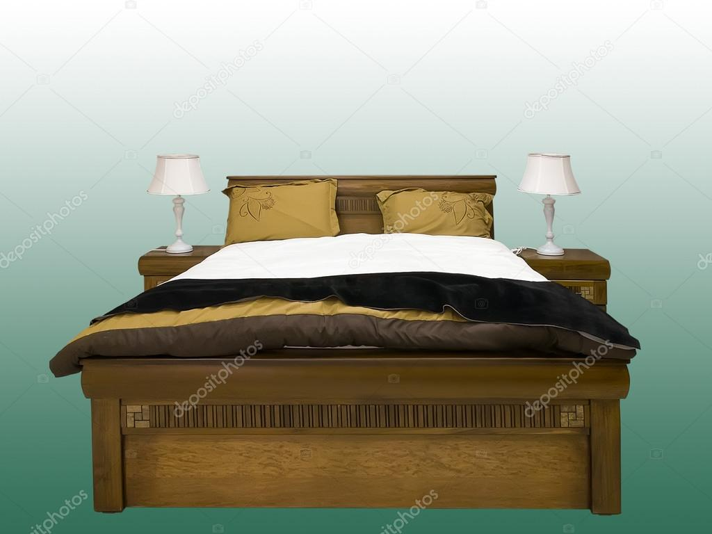 Moderne houten bed u stockfoto modustollens