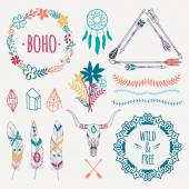 Fotografia Vector colorful ethnic set with arrows, feathers, crystals, floral frames, borders, dream catcher, bull skull. Modern romantic boho style. Templates for invitations, scrapbooking. Hippie design elements.