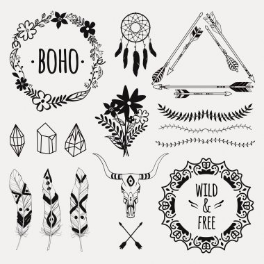 Vector monochrome ethnic set with arrows, feathers, crystals, floral frames, borders, dream catcher, bull skull. Modern romantic boho style. Templates for invitations, scrapbooking. Hippie design elements.