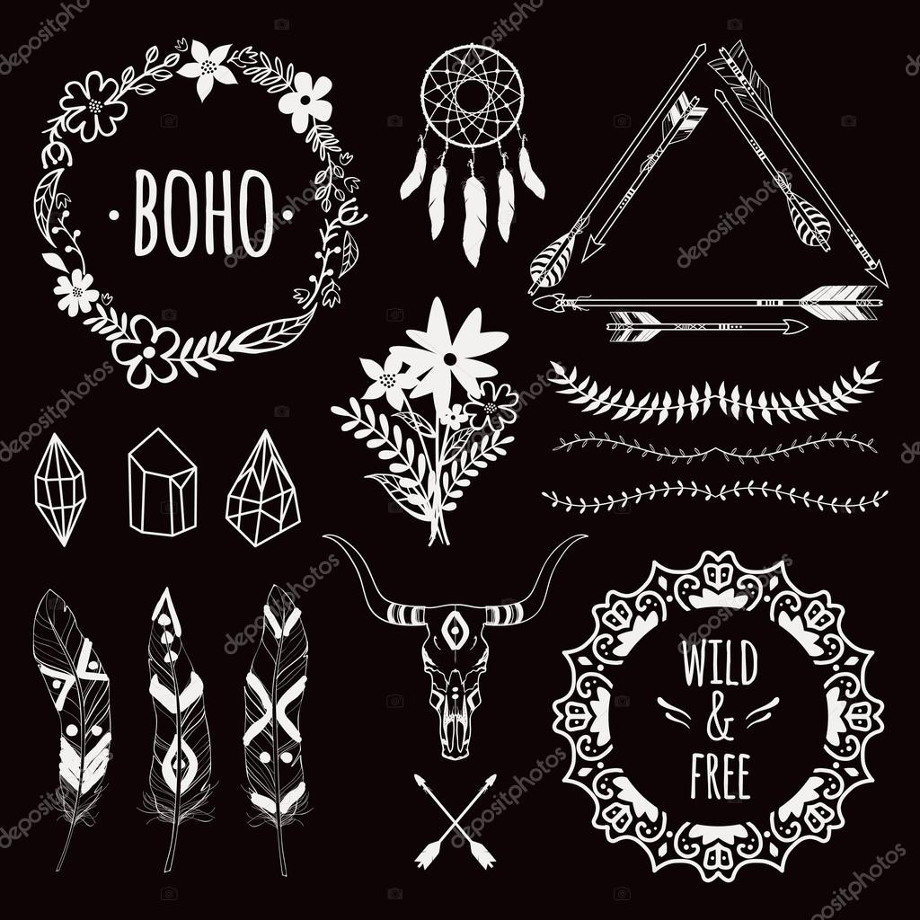 Vector monochrome ethnic set with arrows, feathers, crystals, floral ...