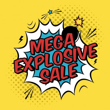 Vector colorful pop art illustration with mega explosive sale discount promotion. Decorative template with halftone background and bomb explosion in modern comics style.
