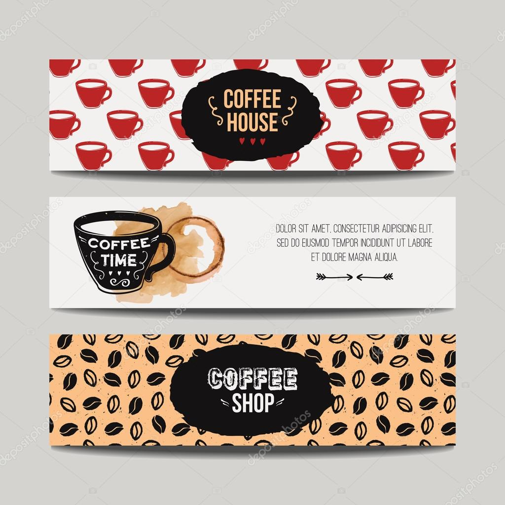 Vector Colorful Set Of Modern Banners With Coffee Backgrounds