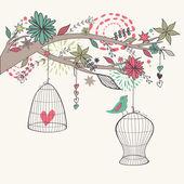 Fotografia Vettore romantico con luccello dalle gabbie, ramo e