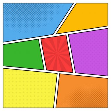 Vector colorful template of comic book page with rays, stars, do