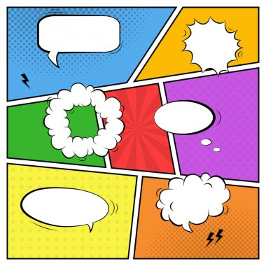 Vector colorful template of comic book page with various speech
