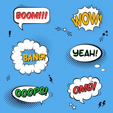 Vector set with comic speech bubbles with sound effects, stars and halftone shadows clip art vector