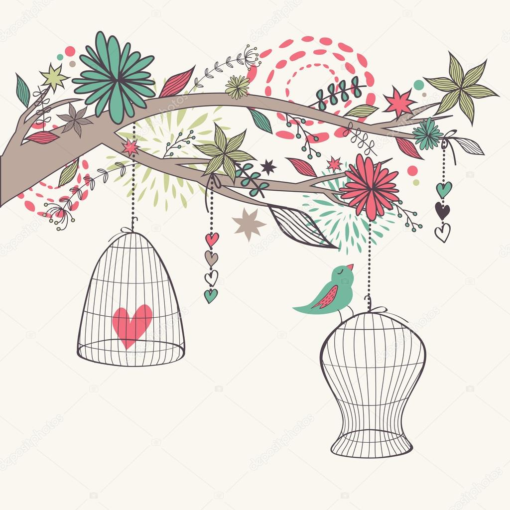 Vector romantic illustration with bird out of cages, branch and