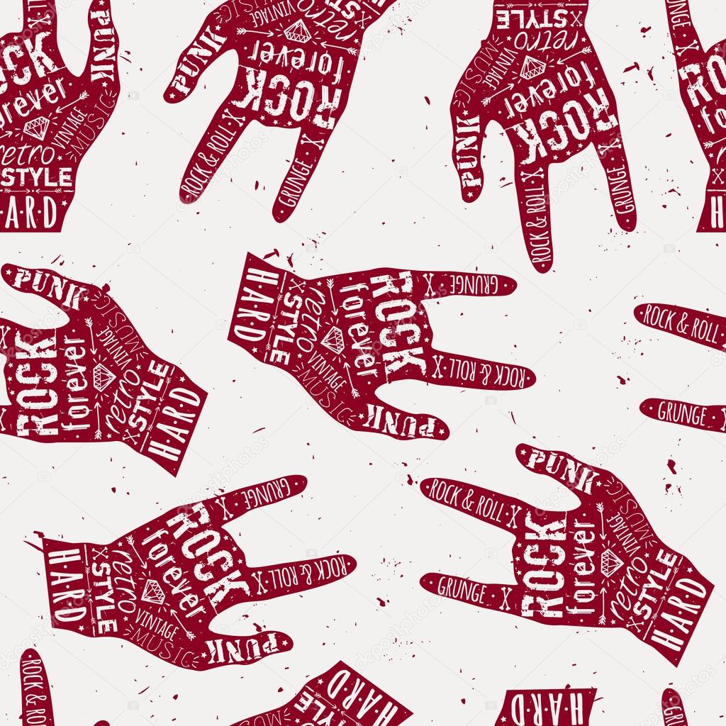 Vector seamless grunge pattern with vintage hand labels, diamond