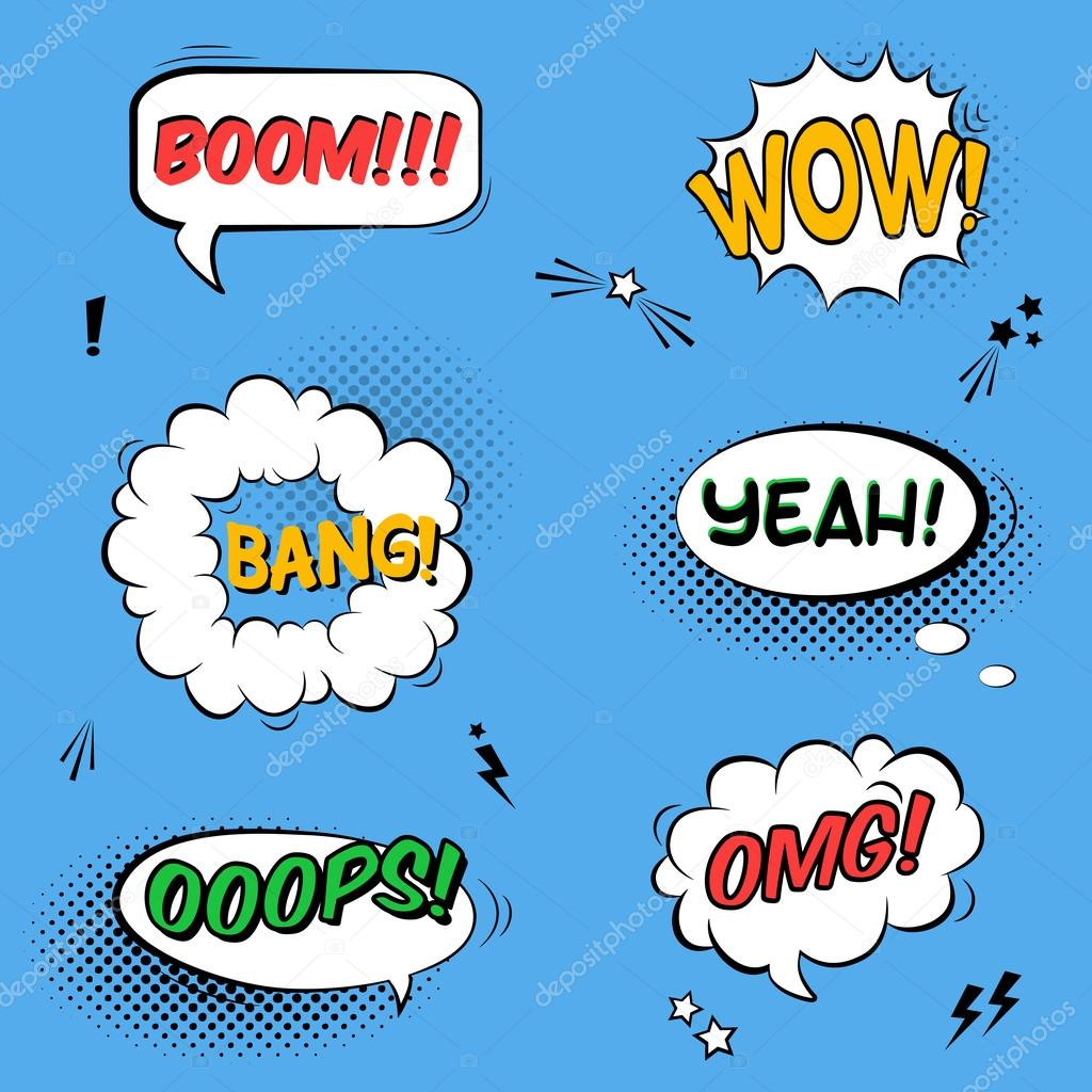Vector set with comic speech bubbles with sound effects, stars a