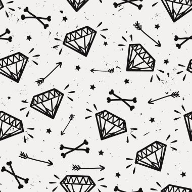 Vector seamless grunge pattern with vintage diamonds, bones, arr