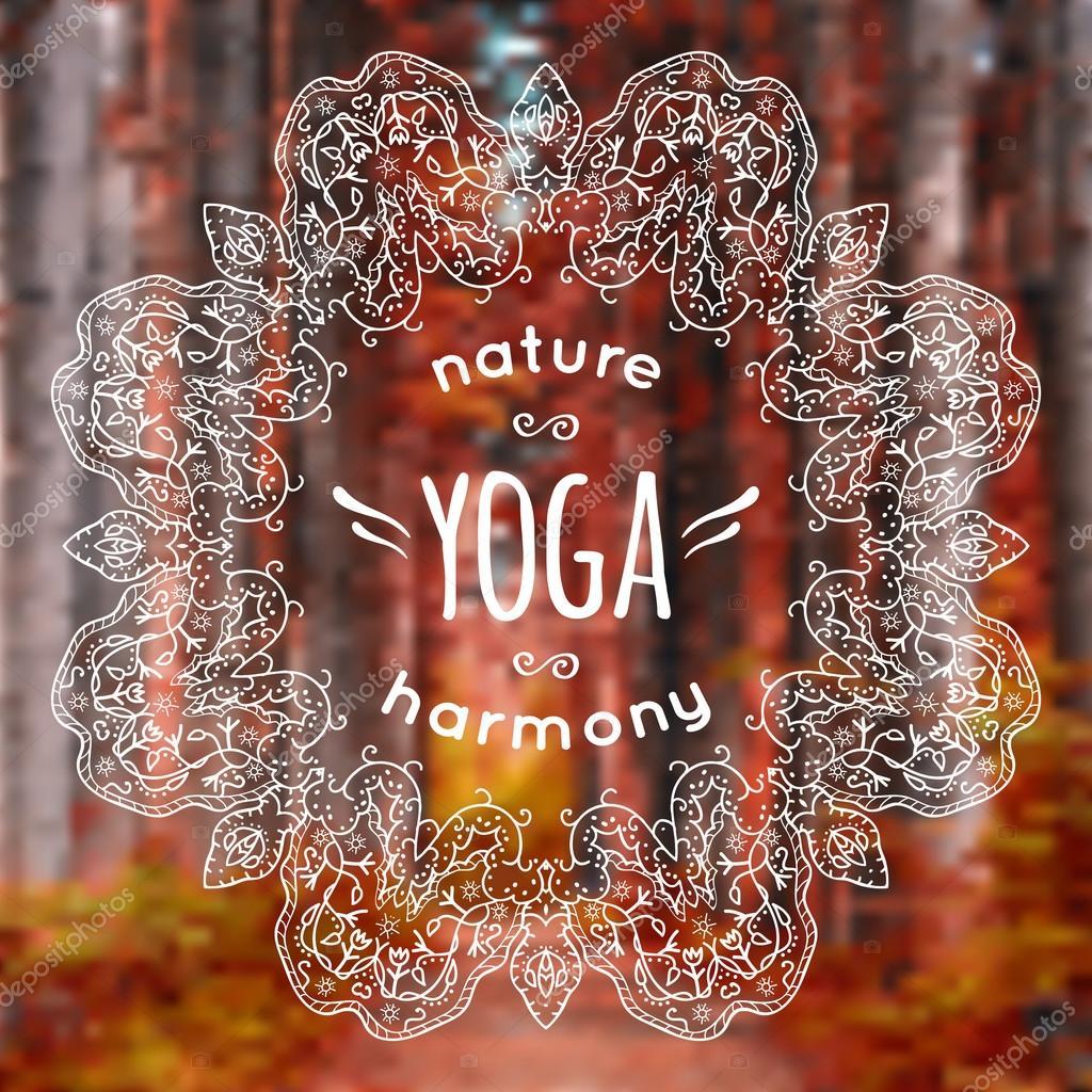 Ilustración de vector con yoga y mandala etiqueta sobre fondo de ...