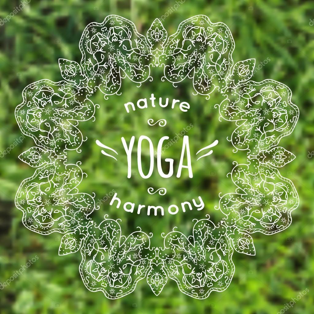 Ilustración de vector con la etiqueta fondo borroso hierba yoga y ...