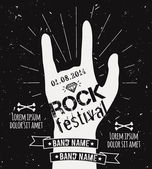 Vector vintage hand label with sunburst, diamond and typography elements. Grunge rock and roll poster. Rock festival design template with place for text.