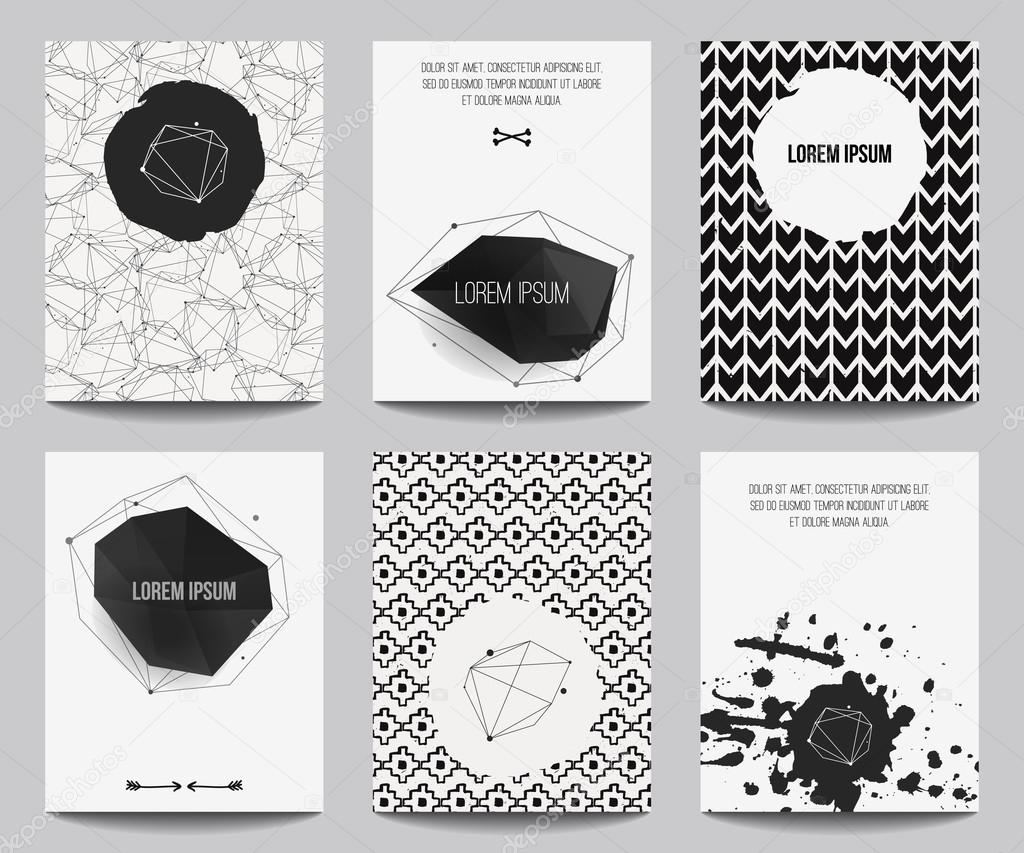 Vector set of modern posters with geometrical shapes and splashes. Trendy hipster style for flyers, banners, invitations, business contemporary design.