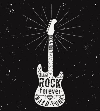 Vector vintage guitar label with sunburst, diamond, bones, arrows, stars and typography elements. Grunge rock and roll style.