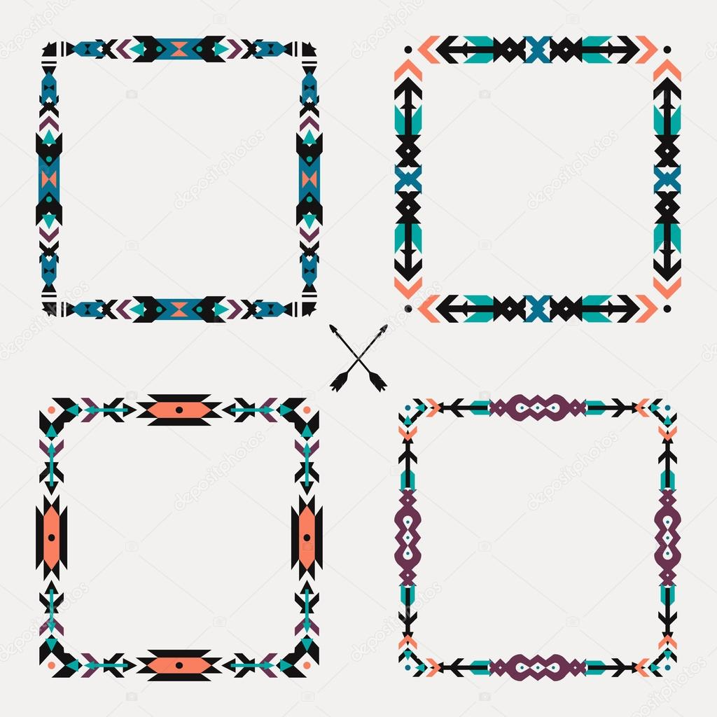 Vector Set With Abstract Geometric Ethnic Frames Tribal Graphic Design Elements Boho Style