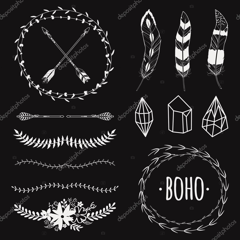 fed842ef686 Vector ethnic black and white set with arrows