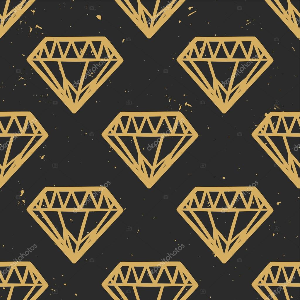 Vector seamless grunge pattern with vintage diamonds. Rock and roll style. Trendy hipster design. Modern gold and black colors