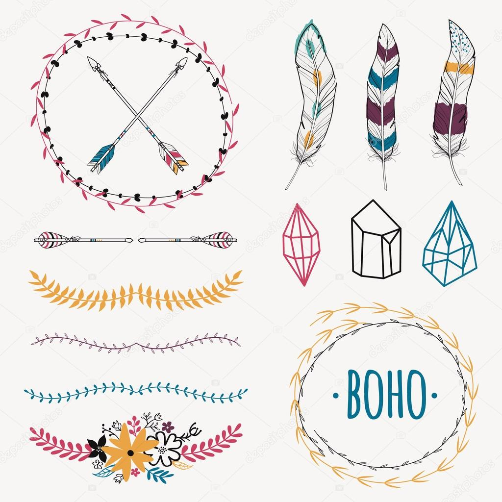 4dd2b936505 Vector colorful ethnic set with arrows