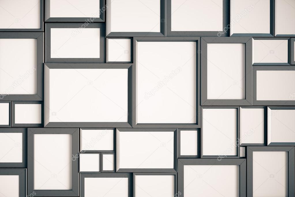viele leere holz bilderrahmen stockfoto peshkov 100603468. Black Bedroom Furniture Sets. Home Design Ideas