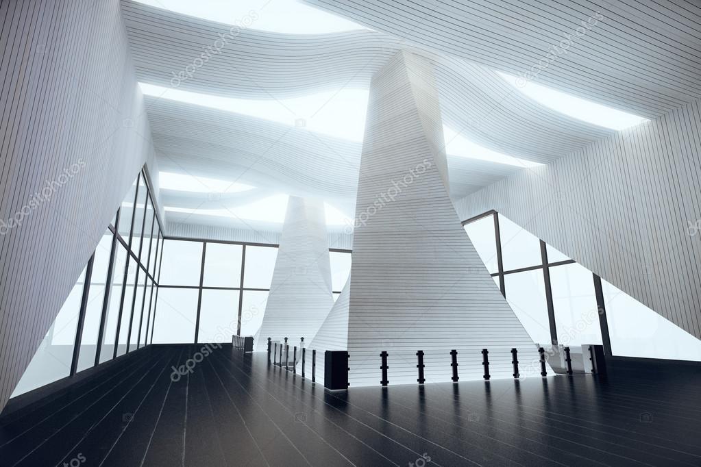 Design intérieur futuriste dans une salle vide avec plancher en bois noir et de grandes fenêtres 3d render image de peshkov