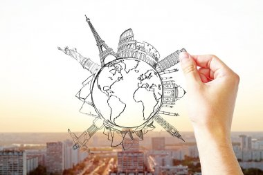 Traveling concept with hand drawing globe