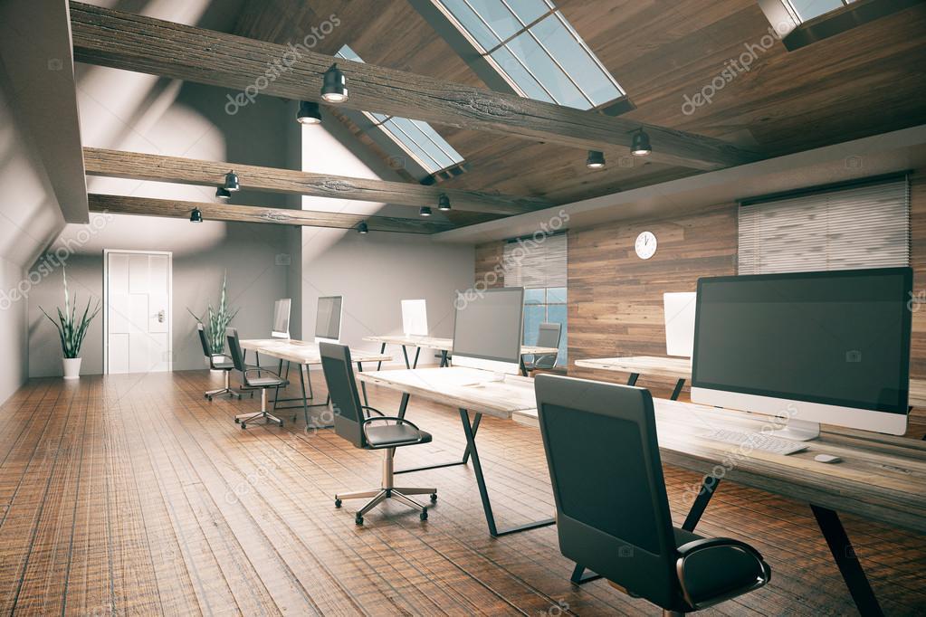 3d Fußboden Seminare ~ Coworking büro mit leeren computerbildschirm hölzernen fußboden