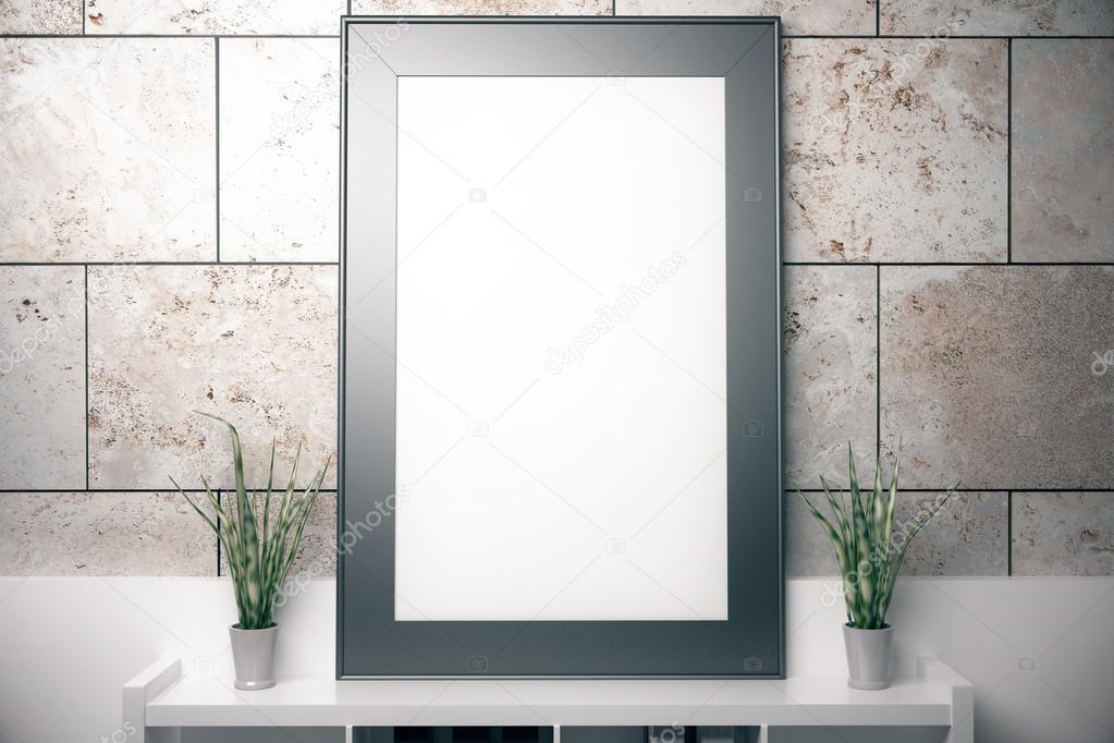 Marco en blanco en baldosas de concreto — Foto de stock © peshkov ...