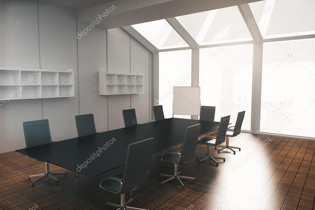 Conference Room With Whiteboard Stock Photo Peshkov - Whiteboard conference table
