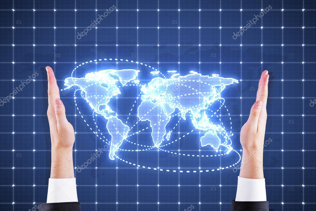 World Map On Hands.Digital World Map In Hands Stock Photo C Peshkov 66293143