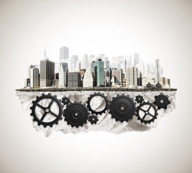 City with cogwheel mechanism