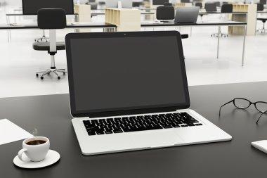 laptop in modern workplace