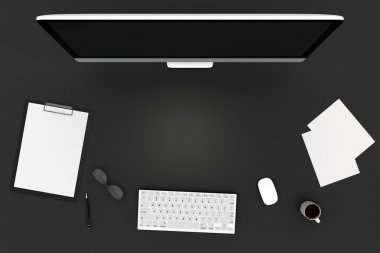 work space with computer and accessories